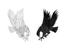 Hand getrokken traditioneel Japans Eagle Het inheemse Amerikaanse Eagle-aanvallen Het ontwerp van de oud-schooltatoegering royalty-vrije illustratie