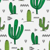 Hand Getrokken Tropisch Cactuspatroon royalty-vrije illustratie