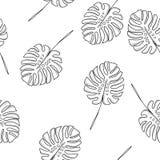 In hand getrokken tropisch Hawaiiaans bloemen herhaald patroon Stock Afbeelding