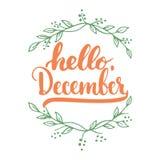 Hand getrokken typografie het van letters voorzien uitdrukking Hello, December dat op de witte achtergrond met bladeren wordt geï Royalty-vrije Stock Foto