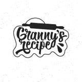 Hand getrokken typografieaffiche Inspirational vectortypografie Omas Recept vector illustratie