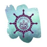 Hand getrokken uitstekend etiket met een stuurwiel op waterverfvlek Royalty-vrije Stock Afbeelding