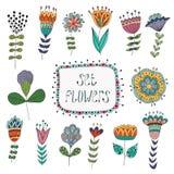 Hand getrokken uitstekende bloemenelementen Bloemen Stock Foto's