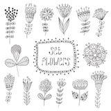 Hand getrokken uitstekende bloemenelementen Bloemen Stock Afbeelding