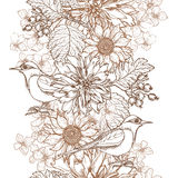 Hand getrokken uitstekende bloemengrens Stock Afbeelding