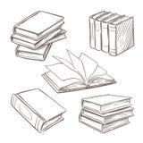 Hand getrokken uitstekende boeken De stapels van het schetsboek Bibliotheek, elementen van het boekhandel de vectordie retro ontw vector illustratie