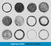 Hand getrokken uitstekende cirkeltexturen Stock Fotografie