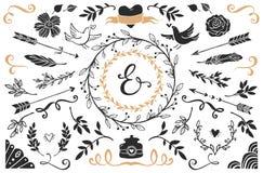 Hand getrokken uitstekende decoratieve elementen met het van letters voorzien Stock Foto's