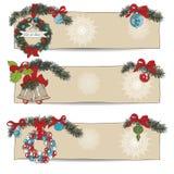 Hand getrokken uitstekende Geplaatste Kerstmisbanners Royalty-vrije Stock Foto