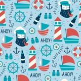 Hand Getrokken Uitstekende Marine Seamless Pattern Stock Foto's