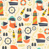 Hand Getrokken Uitstekende Marine Seamless Pattern Stock Fotografie
