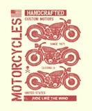 Hand getrokken uitstekende motorfiets Stock Afbeelding