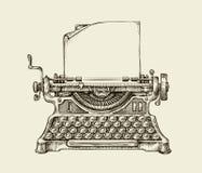 Hand getrokken uitstekende schrijfmachine Schets het publiceren Vector illustratie Stock Fotografie