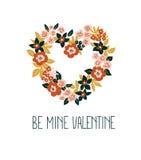 Hand getrokken valentijnskaartkaart met bloemenhart en het van letters voorzien - ` is mijn Valentine ` Vector Bloemenkaderontwer Royalty-vrije Stock Afbeeldingen