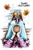 Hand getrokken van de vrouwenzitting en holding koffiekop Modieuze reeks met vrouwenlichaam, koffiekop en de herfstbladeren vector illustratie
