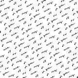 Hand getrokken van letters voorziend patroon over liefde en muziek stock illustratie