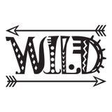 Hand Getrokken Van letters voorziende Word Wildernis Stock Foto