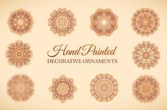 Hand getrokken vastgesteld abstract ornament als achtergrond Royalty-vrije Stock Foto's