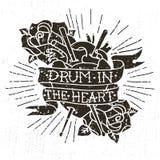 Hand getrokken vecto` Trommel in het hart ` met menselijk hart, rozen, trommelstokken vector illustratie