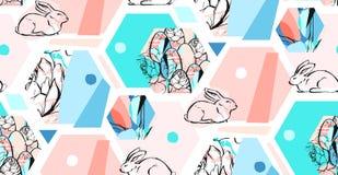 Hand getrokken vector abstract artistiek geweven hexagon de collage naadloos patroon van Pasen van de vormendecoratie met grafisc Stock Foto