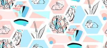 Hand getrokken vector abstract artistiek geweven hexagon de collage naadloos patroon van vormenpasen met grafische bloemen, konij Stock Foto