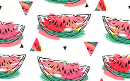 Hand getrokken vector abstract collage naadloos die patroon met van de watermeloenmotief en driehoek hipster vormen op wit worden Royalty-vrije Stock Afbeelding