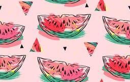 Hand getrokken vector abstract collage naadloos patroon met watermeloenmotief, driehoeks hipster vormen en artistieke uit de vrij vector illustratie