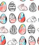 Hand getrokken vector abstract creatief universeel Gelukkig naadloos het patroonontwerp van Pasen met binnen paaseieren en konijn royalty-vrije illustratie