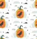 Hand getrokken vector abstract de illustraties naadloos patroon van beeldverhaal Gelukkig Halloween met geïsoleerde pompoenen en  royalty-vrije illustratie