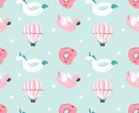 Hand getrokken vector abstract de pret naadloos patroon van de de zomertijd met roze flamingovlotter, de boei van het eenhoorn zw Royalty-vrije Stock Fotografie