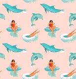 Hand getrokken vector abstract de pret naadloos patroon van de de zomertijd met surfersmeisje in bikini, hond op surfplanken en h Royalty-vrije Stock Afbeelding
