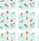Hand getrokken vector abstract de pret naadloos patroon van de de zomertijd met zwemmende gelukkige mensen in zeewater met het sp Royalty-vrije Stock Afbeelding