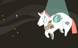 Hand getrokken vector abstract grafisch creatief de kaartmalplaatje van beeldverhaalillustraties met astronauten vliegend paard m vector illustratie