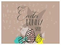 Hand getrokken vector abstract grafisch Skandinavisch leuk het konijntjessilhouet van collage Gelukkig Pasen, eierenillustraties  Stock Illustratie