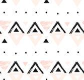 Hand getrokken vector abstract modern geometrisch samenstellings naadloos patroon in zwarte, wit, en pastelkleur roze kleuren met Royalty-vrije Stock Foto's