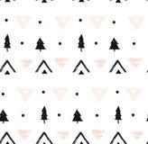 Hand getrokken vector abstract modern geometrisch samenstellings naadloos patroon in zwarte, wit, en pastelkleur roze kleuren met Stock Fotografie