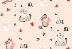 Hand getrokken vector abstract modern van het de dagconcept van beeldverhaal Gelukkig Valentijnskaarten de illustraties naadloos  Royalty-vrije Stock Foto