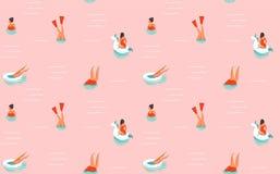 Hand getrokken vector abstract van de de tijdpret van de beeldverhaalzomer de illustratie naadloos patroon met zwemmende die mens Vector Illustratie