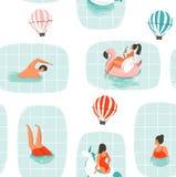 Hand getrokken vector abstract van de de tijdpret van de beeldverhaalzomer de illustratie naadloos patroon met zwemmende mensen i Royalty-vrije Illustratie