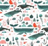 Hand getrokken vector abstract van de de tijd onderwater oceaanbodem van de beeldverhaal grafisch zomer de illustraties naadloos  royalty-vrije illustratie