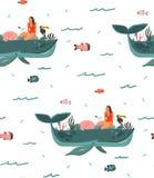 Hand getrokken vector abstract van de de tijd onderwater oceaanbodem van de beeldverhaal grafisch zomer de illustraties naadloos  Vector Illustratie