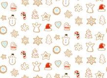 Hand getrokken vector abstract van het de tijdbeeldverhaal van pret Vrolijk Kerstmis de illustratie naadloos patroon met gebakken vector illustratie