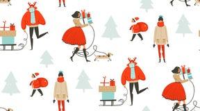 Hand getrokken vector abstract van het de tijdbeeldverhaal van pret Vrolijk Kerstmis de illustratie naadloos patroon met mensen d Royalty-vrije Stock Afbeeldingen