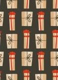 Hand getrokken vector abstract van het de tijdbeeldverhaal van pret Vrolijk Kerstmis de illustraties naadloos patroon met leuke r Royalty-vrije Stock Afbeeldingen