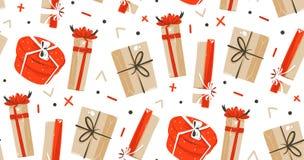 Hand getrokken vector abstract van het de tijdbeeldverhaal van pret Vrolijk Kerstmis de illustraties naadloos patroon met leuke r Stock Foto's