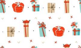 Hand getrokken vector abstract van het de tijdbeeldverhaal van pret Vrolijk Kerstmis de illustraties naadloos patroon met leuke r Stock Afbeelding