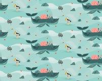 Hand getrokken vector abstract van het de tijdstrand van de beeldverhaal grafisch zomer van de de scène oceaanbodem de illustrati vector illustratie