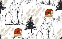 Hand getrokken vector abstract Vrolijk Kerstmis naadloos patroon met Arctica witte ijsbeer in rode Kerstmanhoed en Royalty-vrije Stock Afbeeldingen