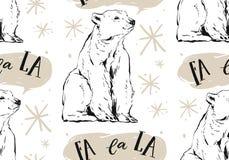 Hand getrokken vector abstract Vrolijk Kerstmis naadloos patroon met Arctica witte ijsbeer, sneeuwvlokken en het caroling Royalty-vrije Stock Afbeeldingen