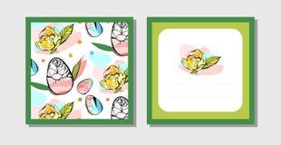 Hand getrokken vector abstracte creatieve Pasen-groetprentbriefkaar Stock Foto